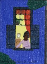 Rodolpho Tamanini Netto, Woman at window at night, Oil Painting
