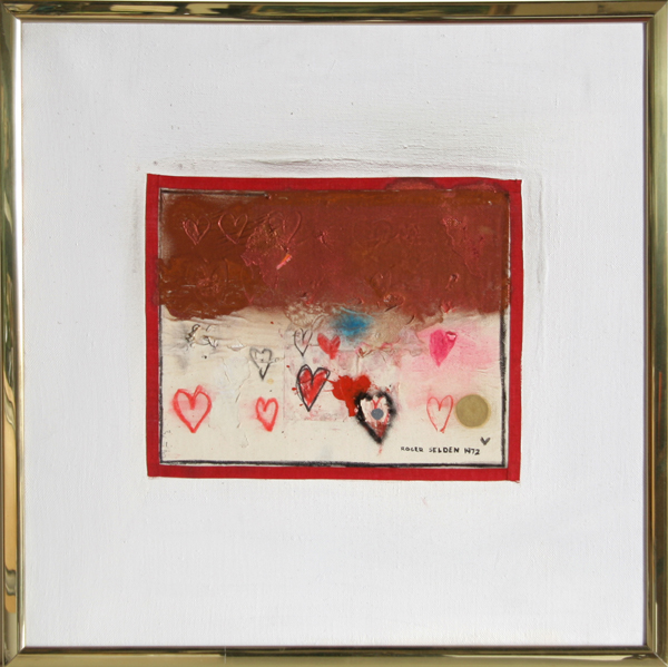Roger Selden, Hearts II, Acrylic and Collage Painting