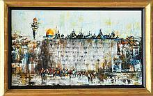 Ben Avram, Wailing Wall, Oil Painting