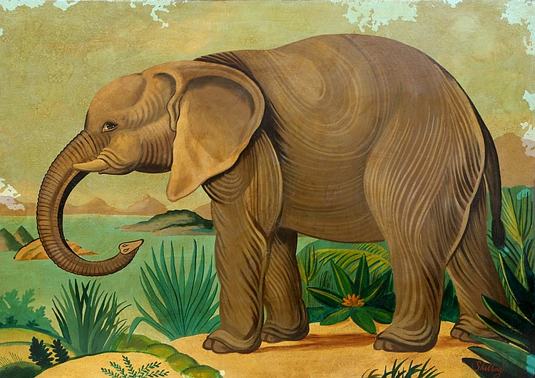 William Skilling, Elephant, Oil Painting