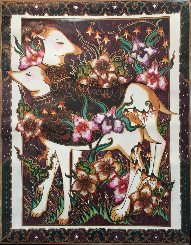 Mara Abboud, Persian Hounds, Acrylic Painting