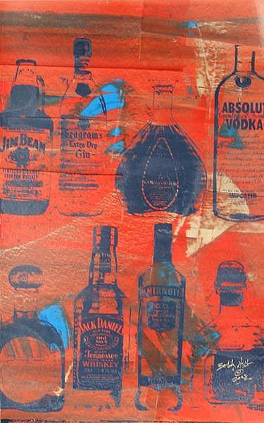 Bobby Hill, Liquor, Silkscreen and Acrylic Painting