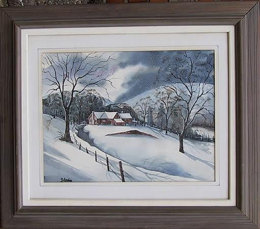 Ari Gradus, Wintry Landscape, Watercolor