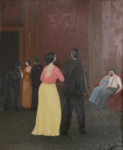 Branko Bahunek, Party Scene, Oil Painting