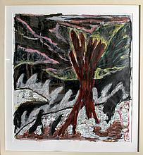 Gregory Amenoff, Red Warning, Acrylic and Mixed Media Drawing