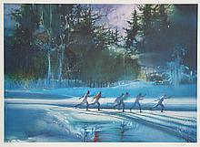 Robert Peak, Cross Country Skiing, Lithograph
