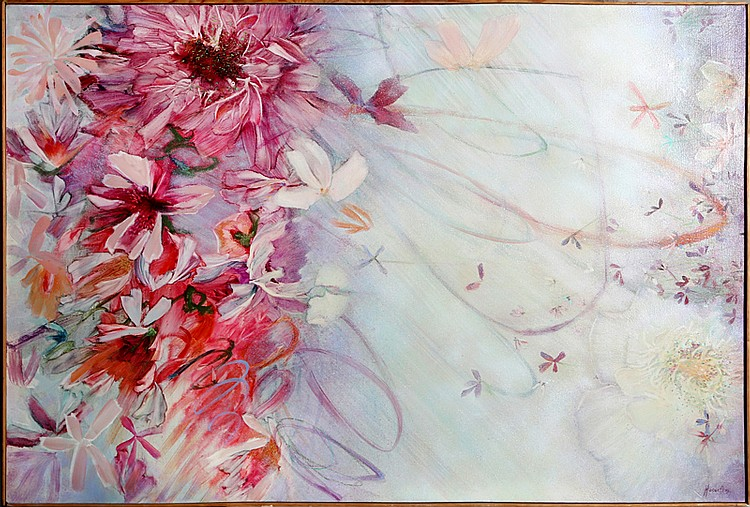 Florence Hasenflug, Pink Floral, Oil Painting