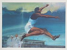 Robert Peak, Long Jump from the Visions of Gold Olympic Portfolio, Lithograph