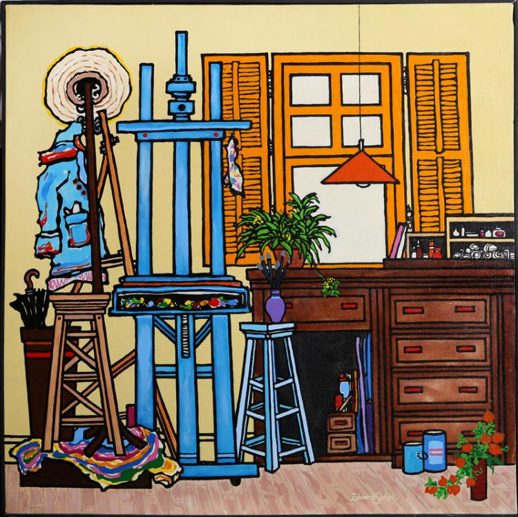 Edward Sokol, The Artist's Studio, Oil Painting