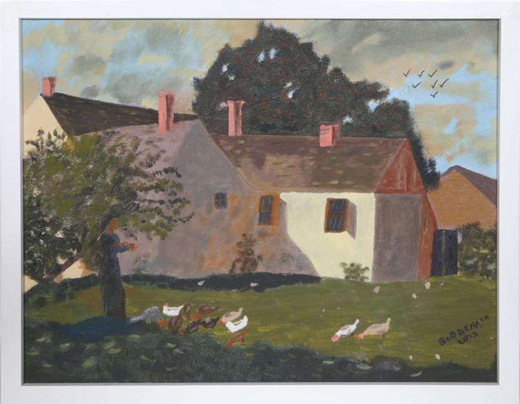Robert Benach, Pastoral Scene with Geese, Oil Painting