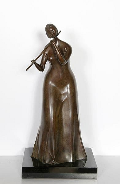 Branko Bahunek, The Flautist, Bronze Sculpture