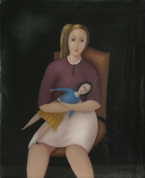 Branko Bahunek, Girl and her Doll, Oil Painting
