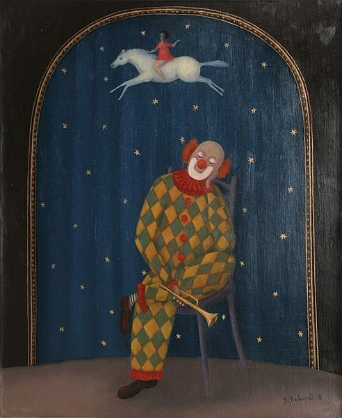 Branko Bahunek, Dreaming Clown, Oil Painting