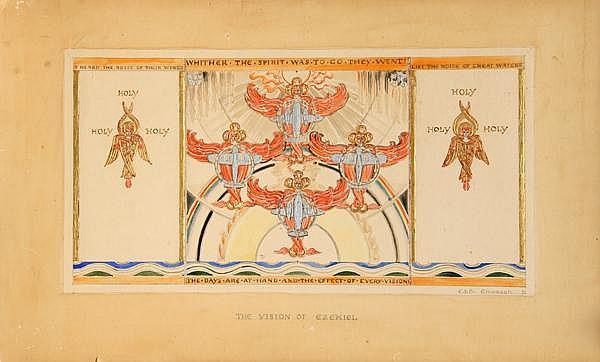 Edith Emerson, The Vision on Ezekiel, Gouache Painting