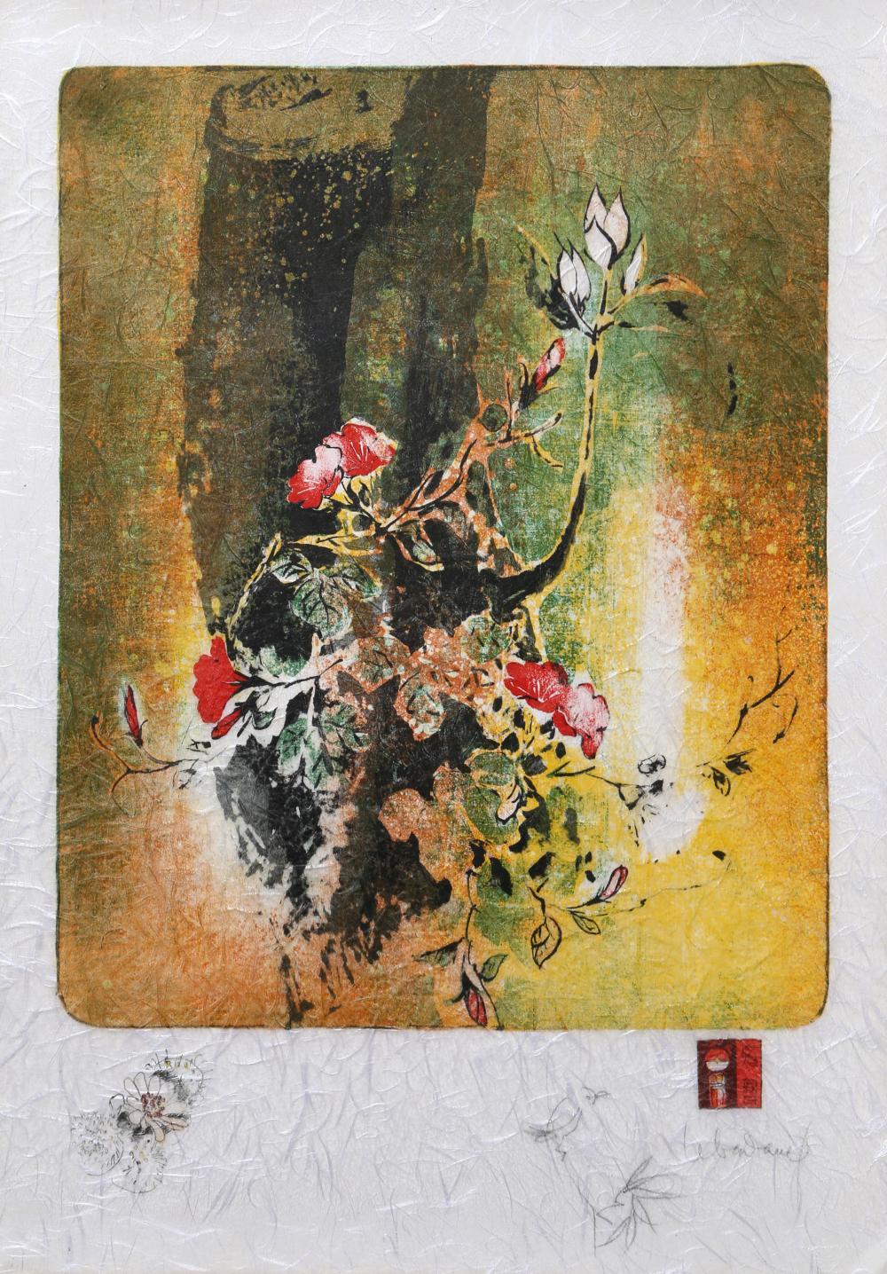 Lebadang (aka Hoi), Red Blossoms on Orange, Lithograph on Handmade paper