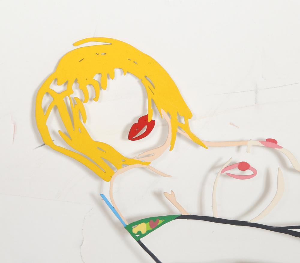Tom Wesselmann, Monica Lying Down on Robe, Laser-cut Steel Multiple with enamel