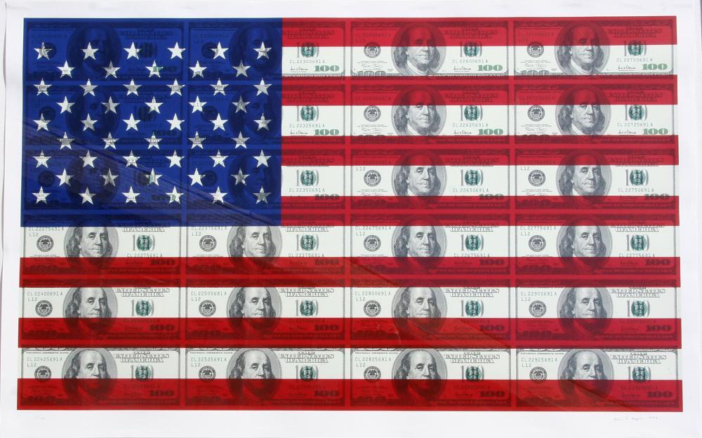 Steven Gagnon, $100 U.S. Flag, Screenprint on Coventry