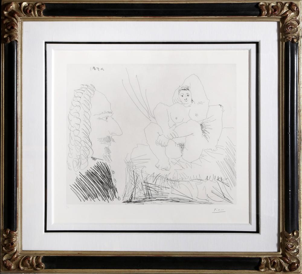 Pablo Picasso, Courtisane au lit avec un visiteur, 347 Series (Bloch 1553), Etching
