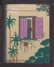 Rodolpho Tamanini Netto, Woman Looking Out of Pink Window, Oil Painting