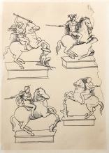 Leonardo da Vinci, Quatre Etudes pour une Figure Equestre, Heliogravure