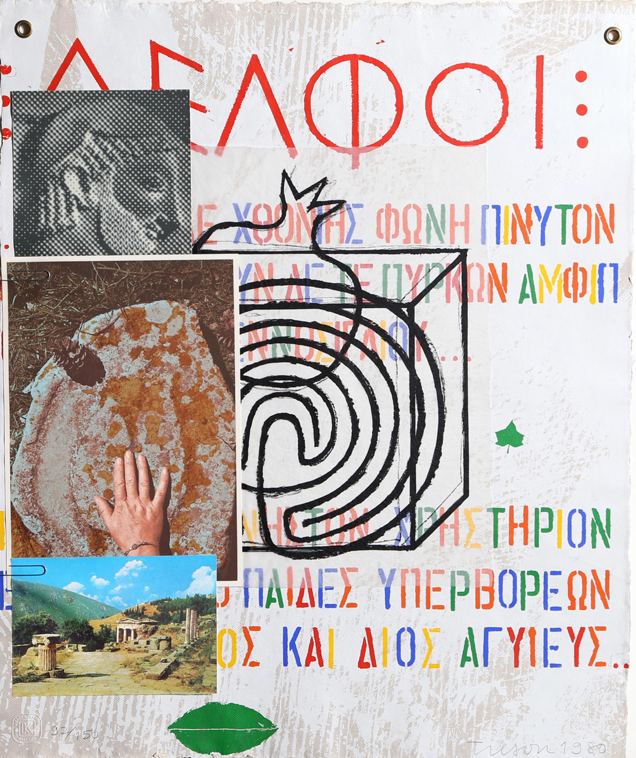Joe Tilson, Adelphi, Lithograph and Collage Painting