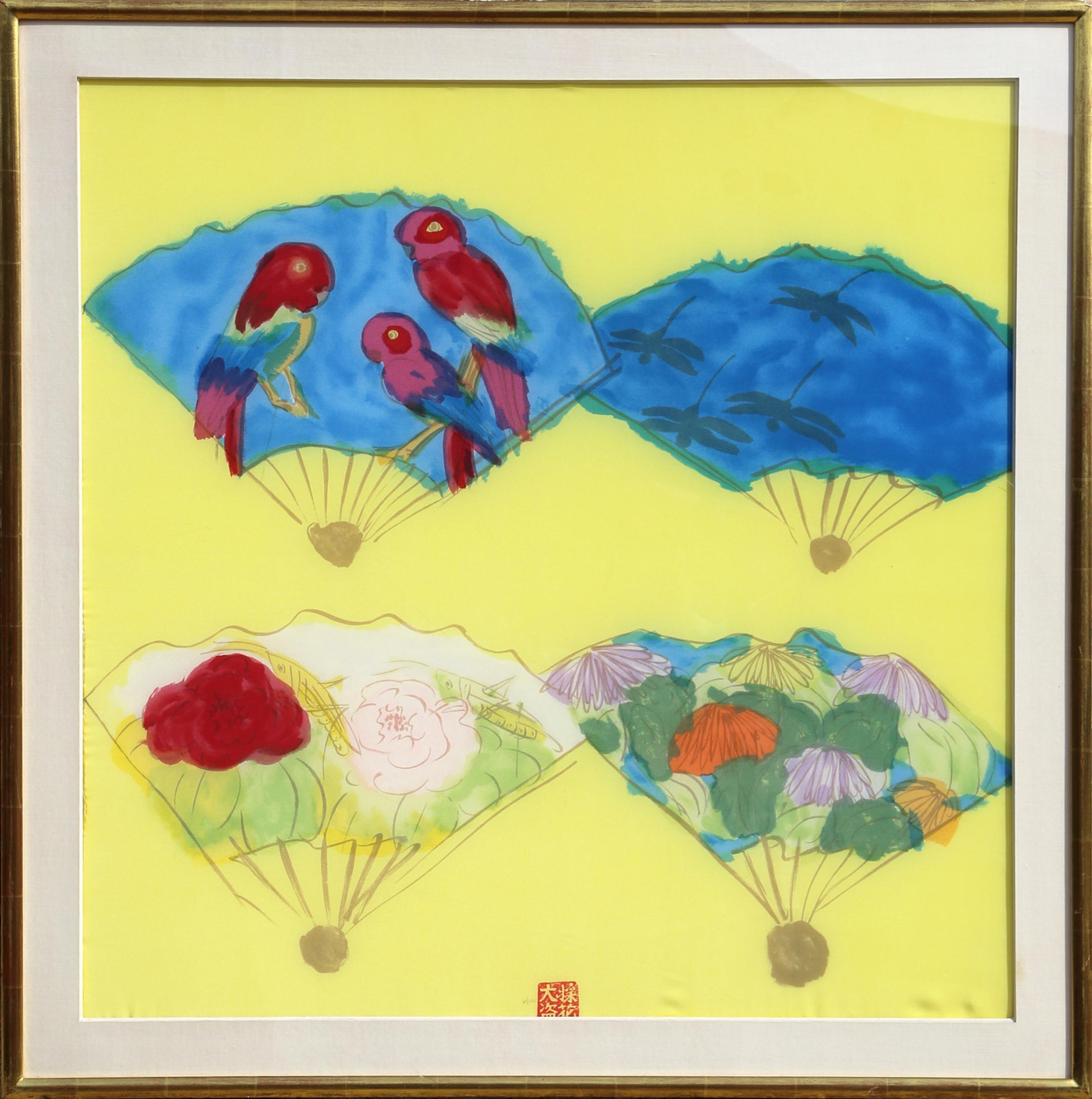 Walasse Ting, Four Fans, Lithograph on Silk