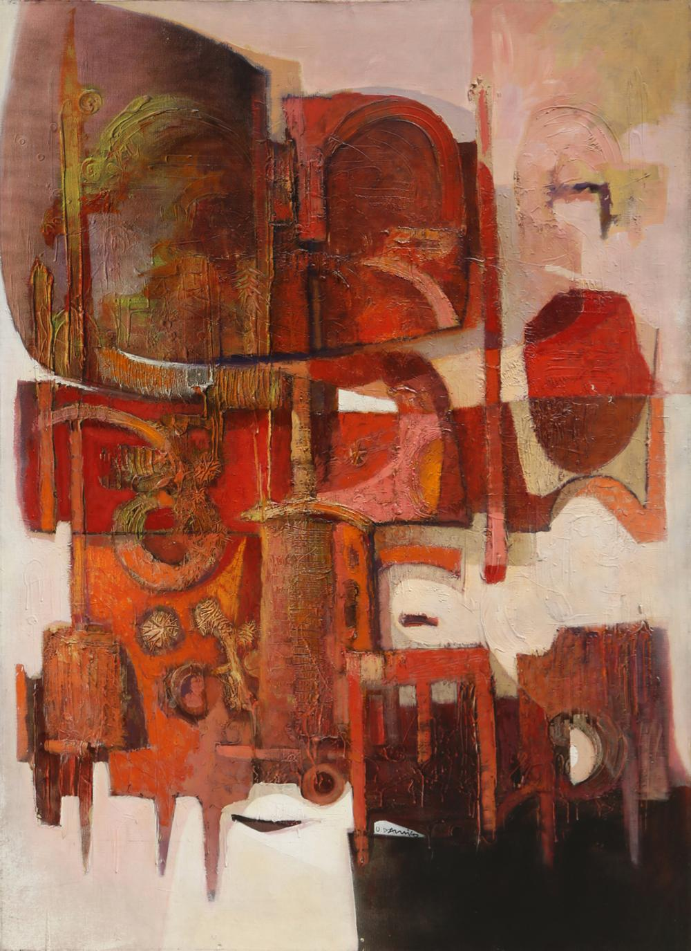 Oskar D'Amico, Red Abstract Construction, Oil Painting