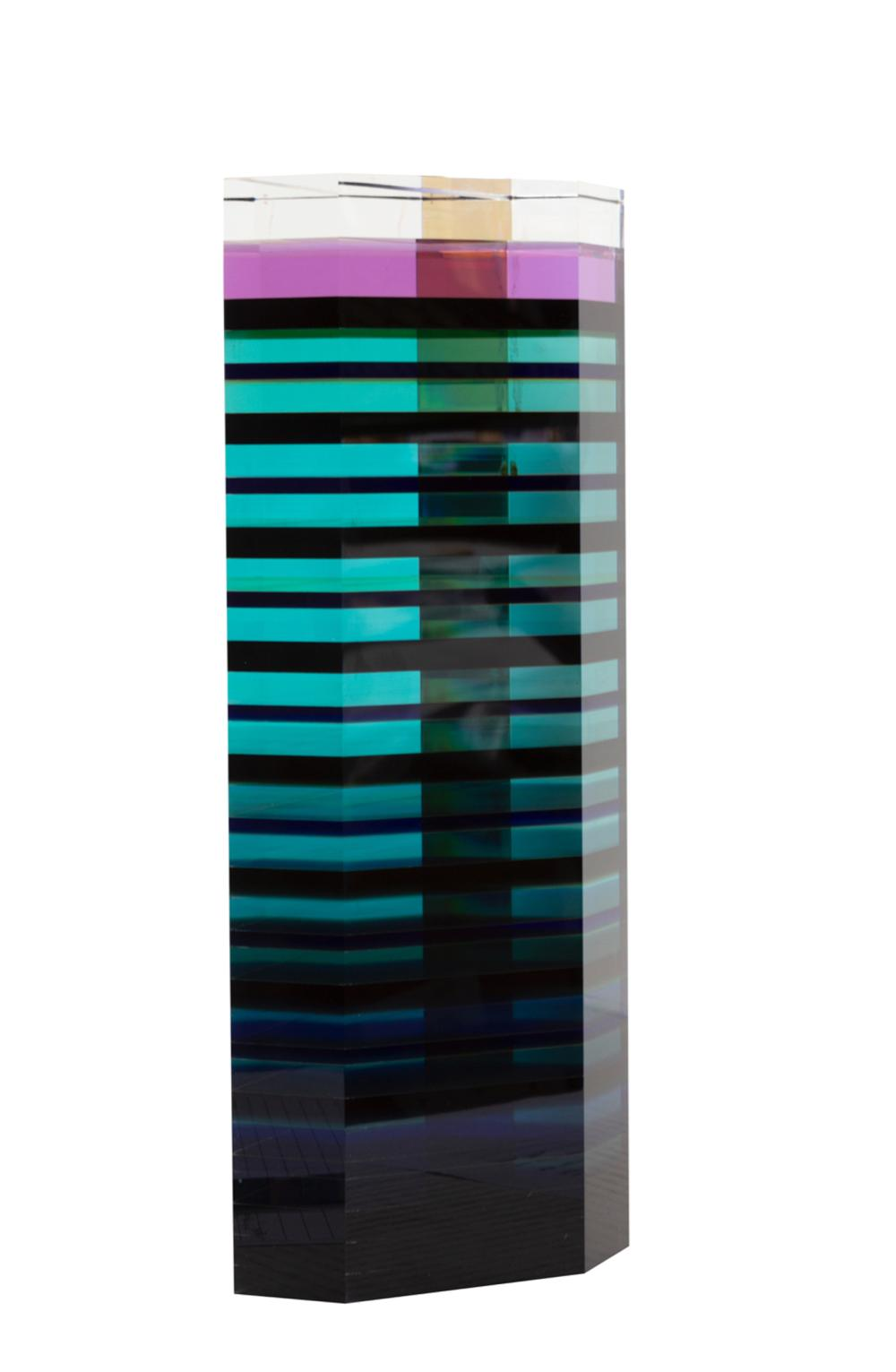 Unknown Blue Trapezoid Prism, Acrylic Sculpture
