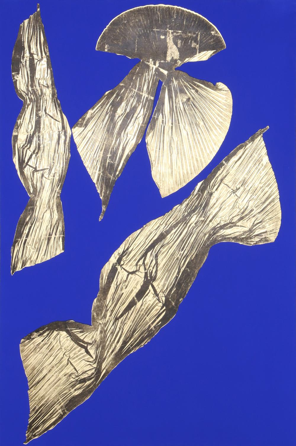 Lynda Benglis, Dual Nature (Blue) I, Lithograph with Gold Leaf