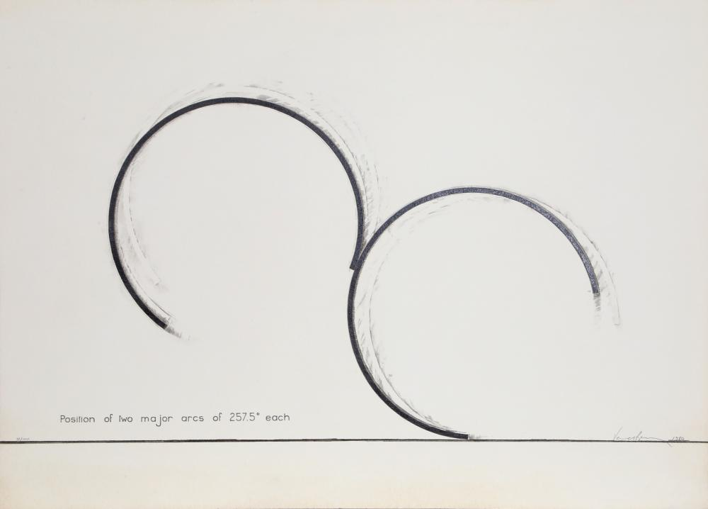 Bernar Venet, Position of Two Major Arcs of 257.5 Degrees Each, Screenprint