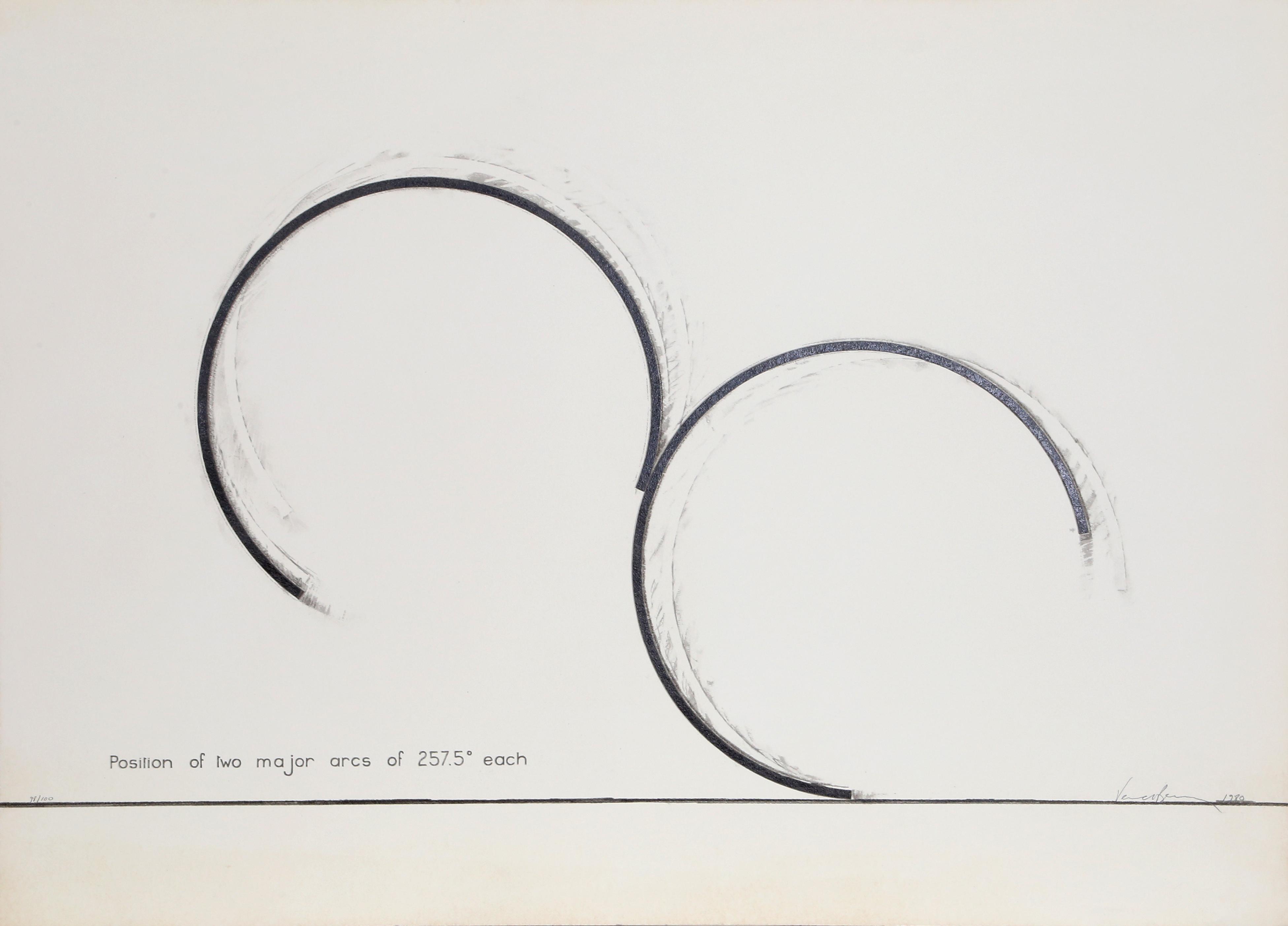 Bernar Venet, Position of Two Major Arcs of 257.5 Degrees Each, Screenprint
