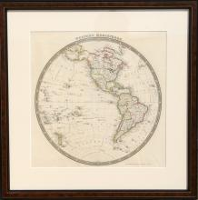 John Dower, Map of Western Hemisphere, Engraving