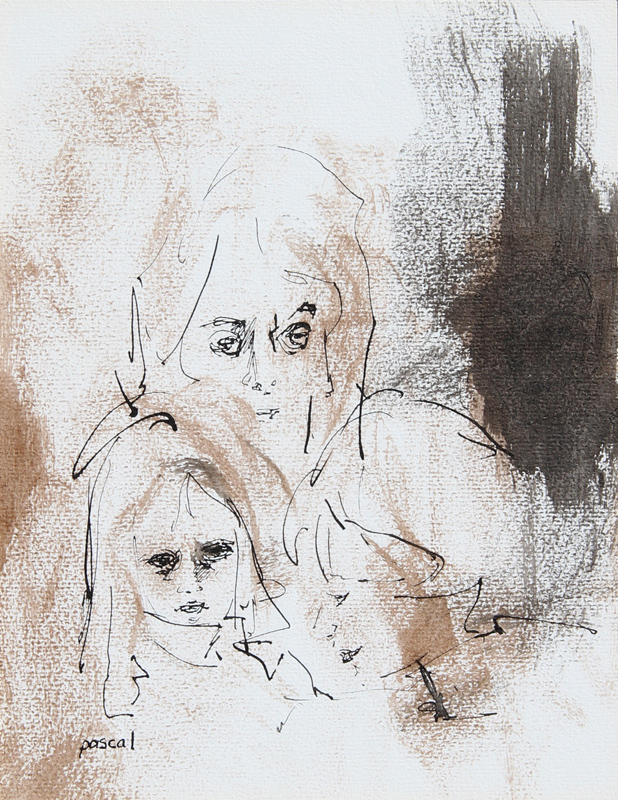 Pascal Bastia, Mother and Child, Ink and Watercolor