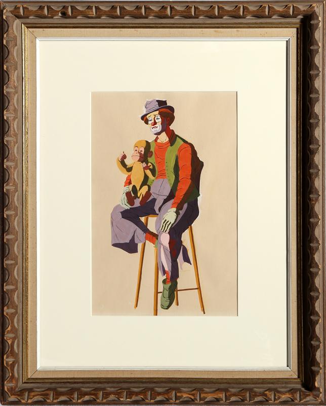 Charles Blaze Vukovich, Clown with Monkey, Painting