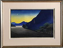 Lilian May Miller, Blue Hills and Crescent Moon, Woodcut