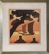 Lilian May Miller, Sampans at Sunset, Woodcut