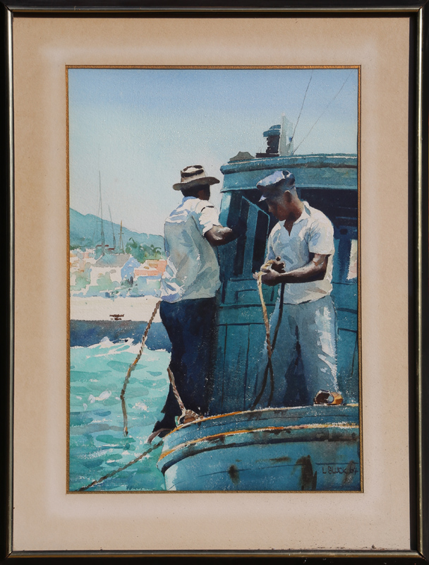 Larry Gluck, Fisherman, Watercolor Painting