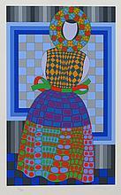 Victor Vasarely, Fille Fleur, Serigraph