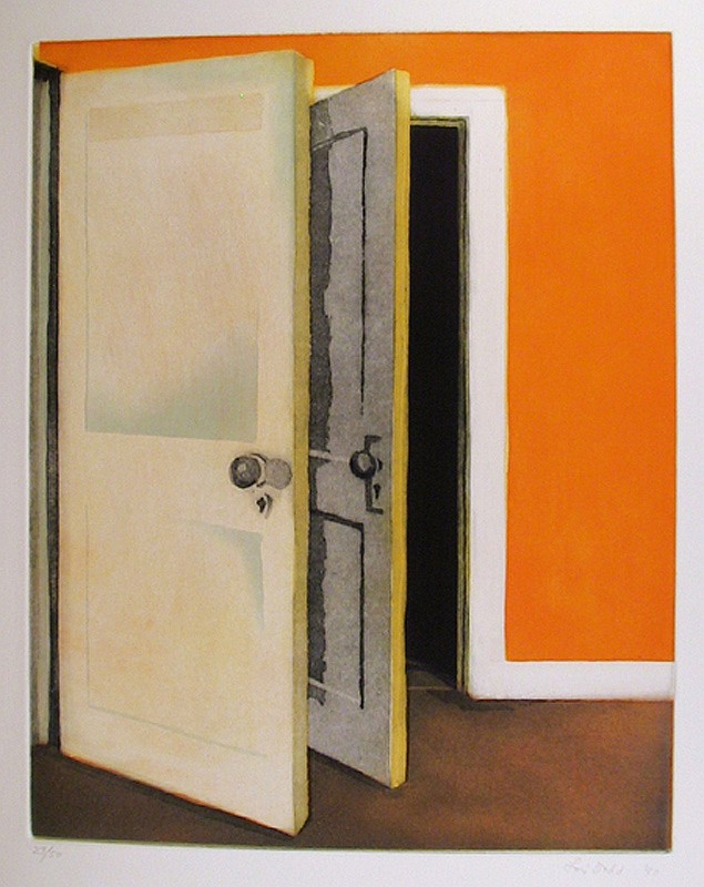 Lois Dodd, Open Door, Aquatint Etching