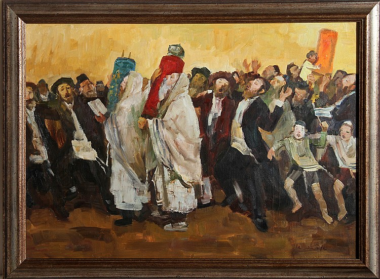 Adolf Adler, Parading the Torah, Oil Painting
