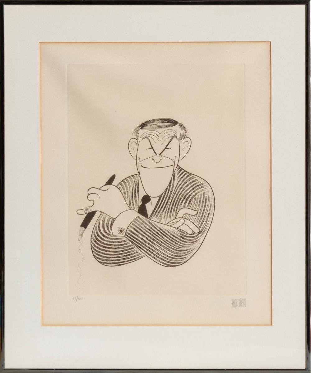 Al Hirschfeld, George Burns, Etching