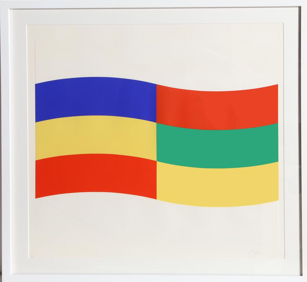Charles Hinman, Blue, Green and Yellow Flag, Embossed Silkscreen