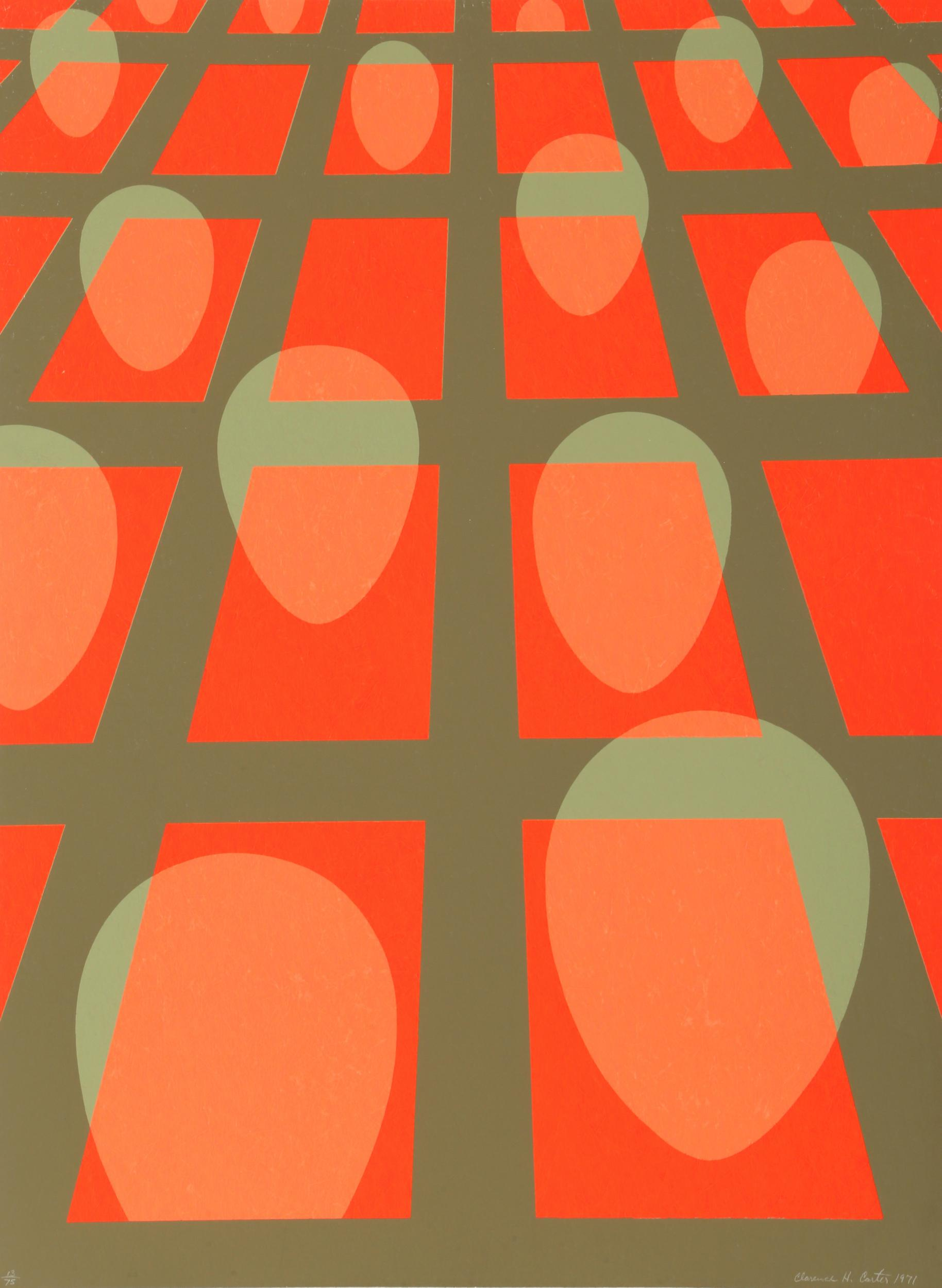 Clarence Holbrook Carter, Faces in Grid (Red), Silkscreen