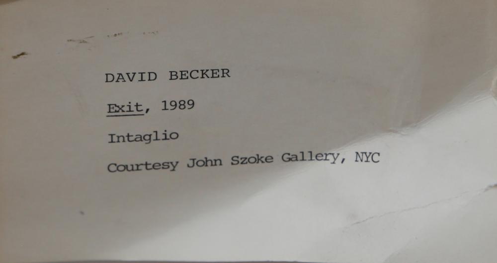 David Becker, Exit, Etching