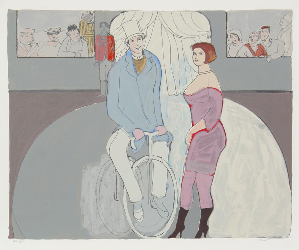 David Schneuer, Man on Bicycle, Lithograph