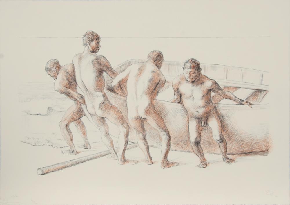 Francisco Zuniga, Hombres con Barca II, Lithograph