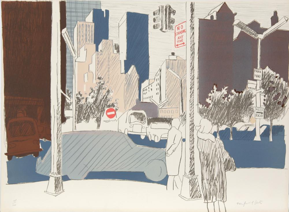 Fairfield Porter, untitled (New York City), Lithograph