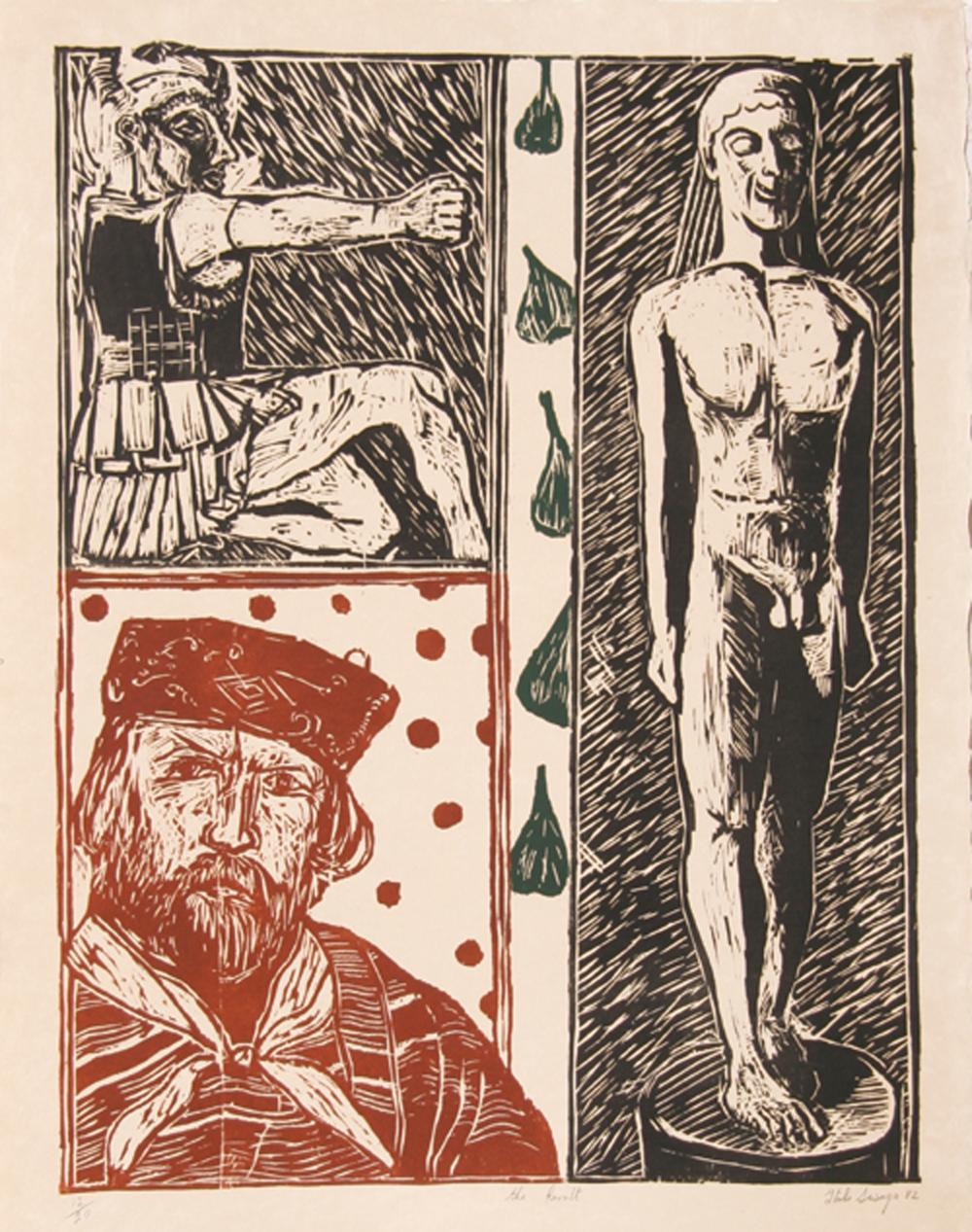 Italo Scanga, The Revolt, Woodcut