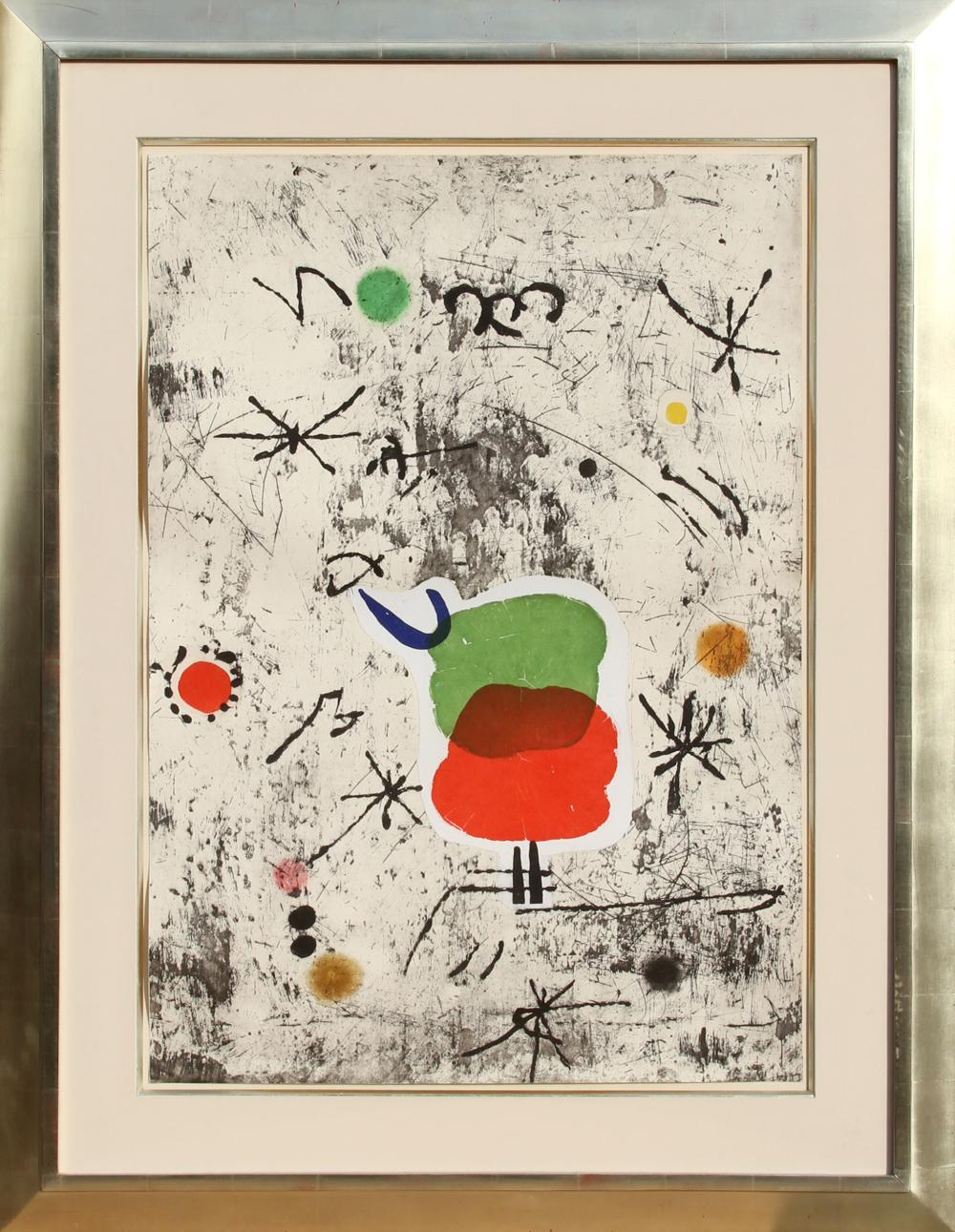 Joan Miro, Serie Personatges I Estels: Plate 1, Etching, Aquatint with Collage