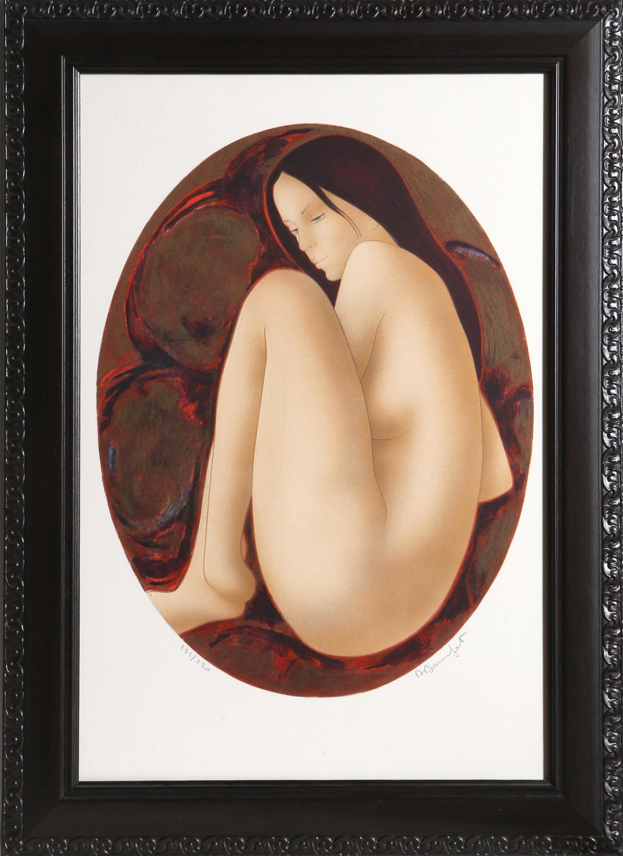 Alain Bonnefoit, Seated Brunette Nude, Lithograph